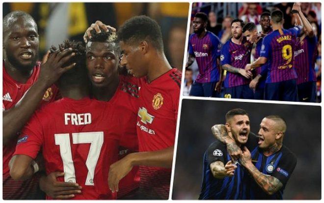 """BXH lượt trận đầu tiên Champions League 2018/2019: Barca, MU """"ca khúc khải hoàn"""", đoàn quân hùng mạnh của Pep gây S.Ố.C lớn"""