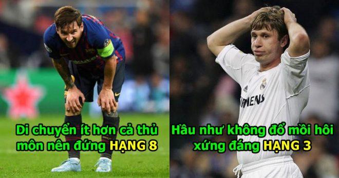 """10 cầu thủ """"lười biếng"""" nhất làng bóng đá: Bất ngờ với vị trí của Messi, hạng 1 đã đi vào giai thoại"""