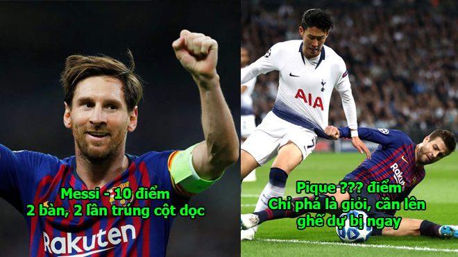 Chấm điểm Tottenham 2-4 Barca: Vượt mặt Ronaldo, Messi là người đầu tiên đạt điểm 10 siêu hạng
